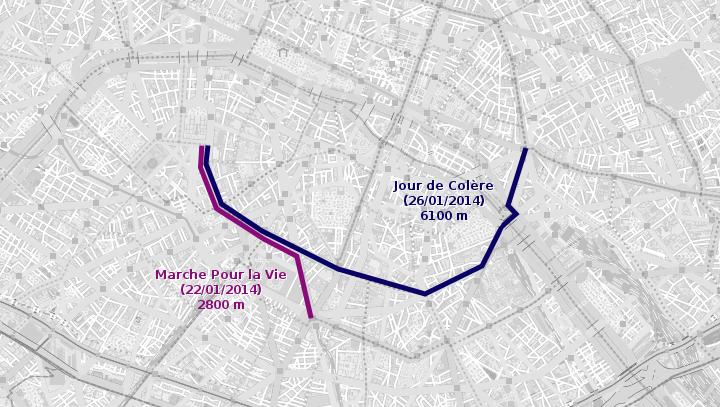 Comparatif itinéraires Jour de Colère et Marche pour la Vie